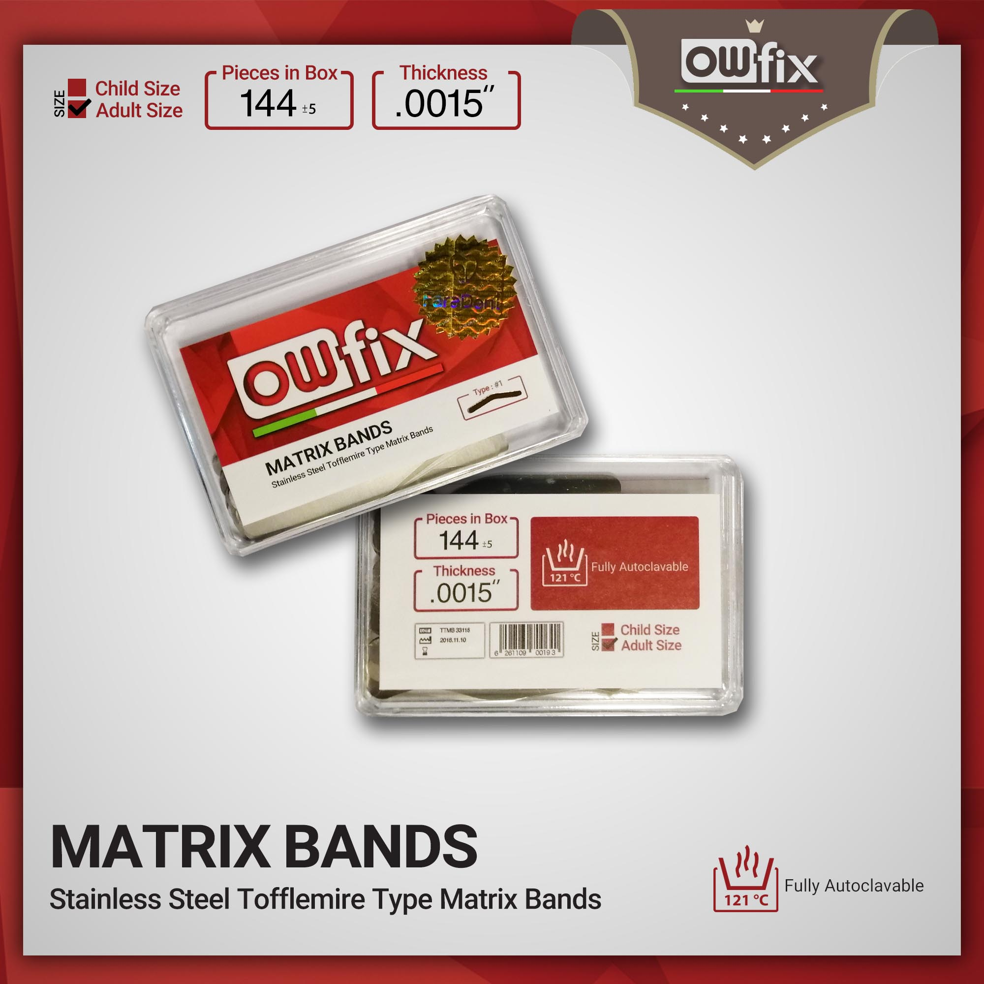 Stainless Steel Tofflemire Type Matrix Bands owfix